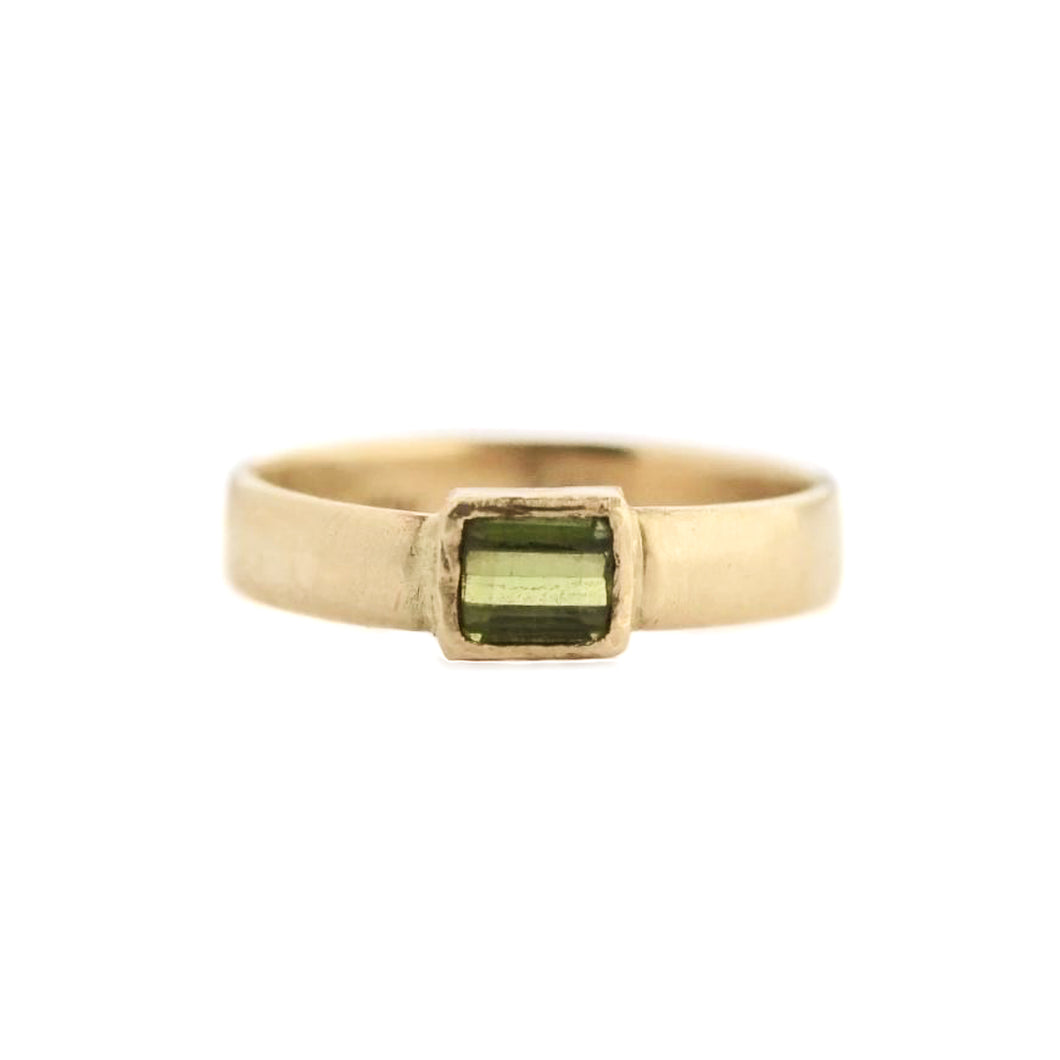 Green Tourmaline Ring | 14k Recycled Gold