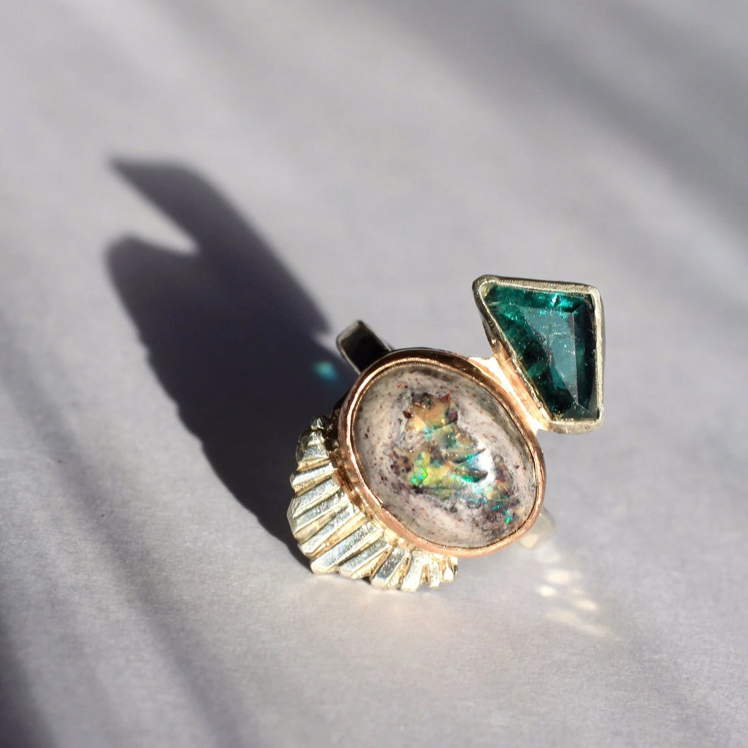 Tourmaline & Cantera Opal Ring | Recycled Sterling Silver
