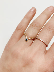 Sapphire V Ring | Recycled 14k Gold