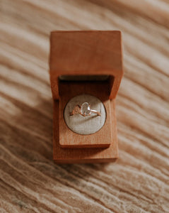 Engagement ring in sustainable wood jewelry box