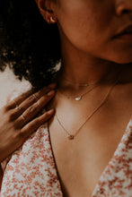 Load image into Gallery viewer, woman-wearing-stacks-of-minimal-gold-necklaces