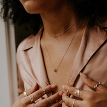 Load image into Gallery viewer, woman-wearing-dusty-pink-blouse-and-gold-necklaces
