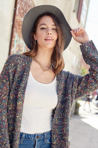 Multi color popcorn cardigan