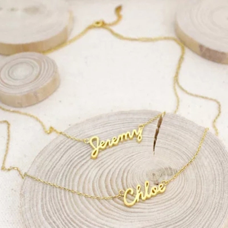 Pendant Necklace with Double Name Layers - Zorbba