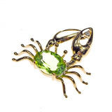 14K Yellow Gold Peridot Crab Pendant