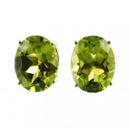 14K Yellow Gold Peridot Oval 7mm x 9mm  Stud Earrings