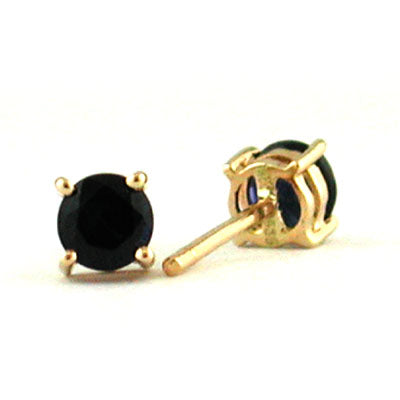 14K Yellow Gold Sapphire Round 3.75mm Stud Earrings