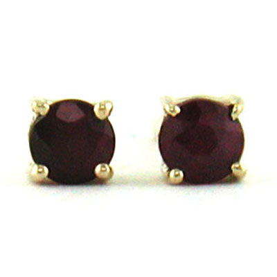14K Yellow Gold Ruby Round 3.75mm Stud Earrings