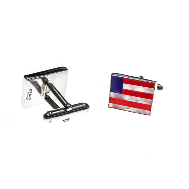 Sterling Silver American Flag Inlay Cuff Links