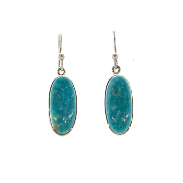 SS Oval Turquoise Bezel Earrings