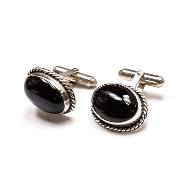 SS Oval Onyx Rope Edge Cuff Links