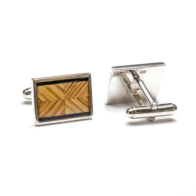 SS Wood Inlay Cufflinks
