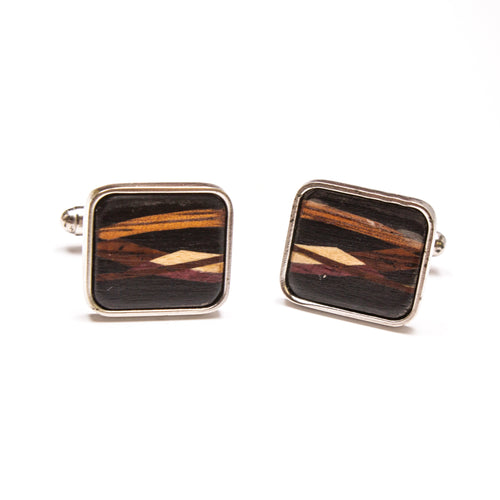 SS Wood Inlay Cuff Links