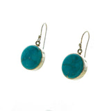 SS Round Turquoise Bezel Earrings