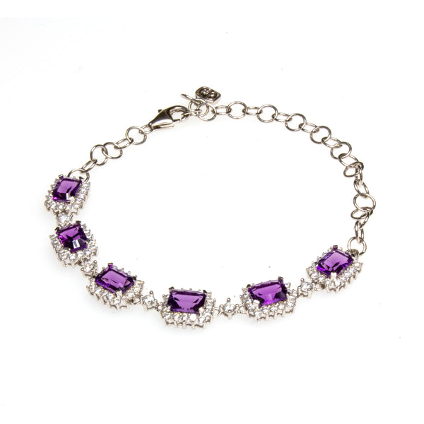Sterling Silver Created Amethyst Cubic Zirconia Bracelet