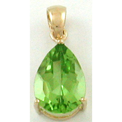 14K Yellow Gold Peridot Pear Pendant