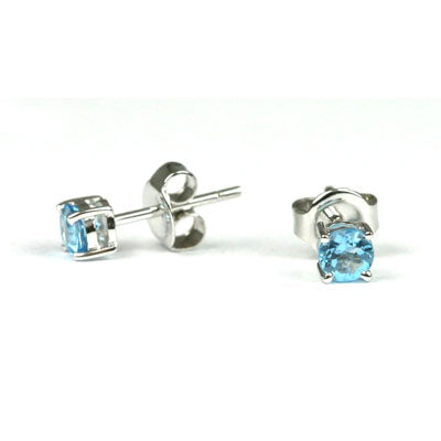 14K White Gold Blue Topaz Round 6mm Stud Earrings