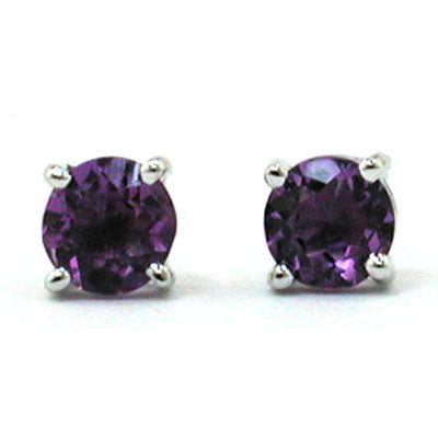 Sterling Silver Created Amethyst Triangle Stud Earrings