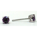 14K White Gold Amethyst Round 3.75mm Stud Earrings