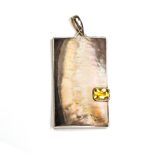 SS 2-tone Mother of Pearl Citrine Rectangle Pendant