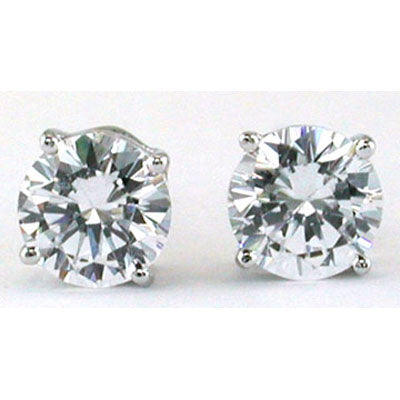14K White Gold Cubic Zirconia Round 6mm Stud Earrings