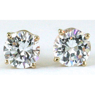 14K Yellow Gold Cubic Zirconia Round 6mm stud Earrings