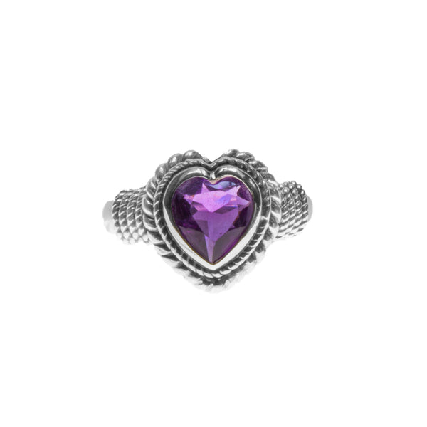 Sterling Silver Amethyst Heart Ring