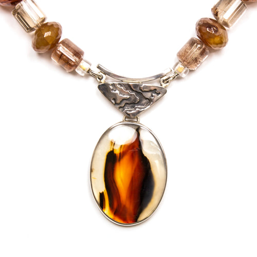SS Assorted Stone Vintage Montana Agate Necklace