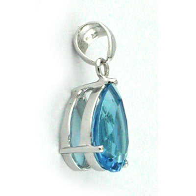 14K White Gold Blue Topaz Pear Pendant