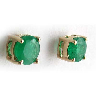 14K Yellow Gold Emerald Round 4mm Stud Earrings