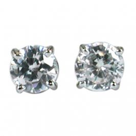 14K White Gold Cubic Zirconia Round 4mm Stud Earrings