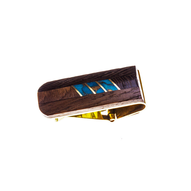 Wood Brass and Turquoise Inlay Money Clip