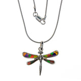 Sterling Silver Ammolite Dragonfly Necklace