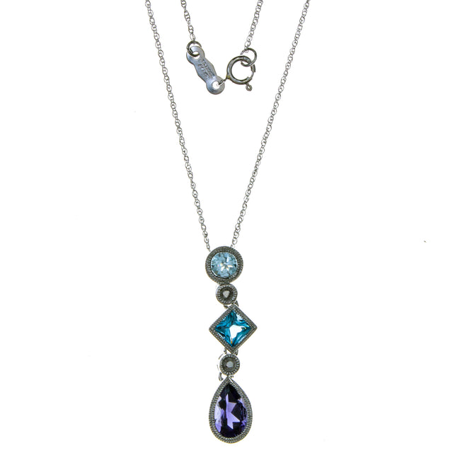 14K White Gold Aquamarine Blue Topaz Iolite Necklace