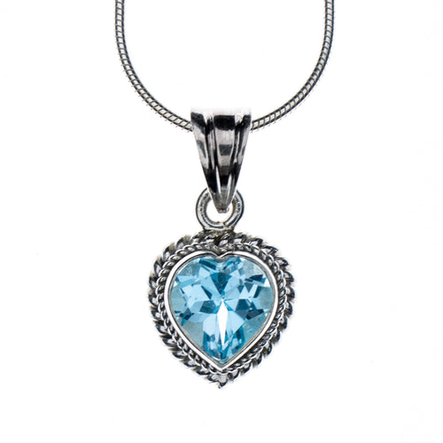 Sterling Silver Blue Topaz Heart Necklace
