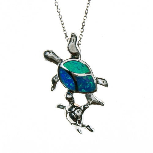 Sterling Silver Created Opal Turtle Mama with Baby Necklace