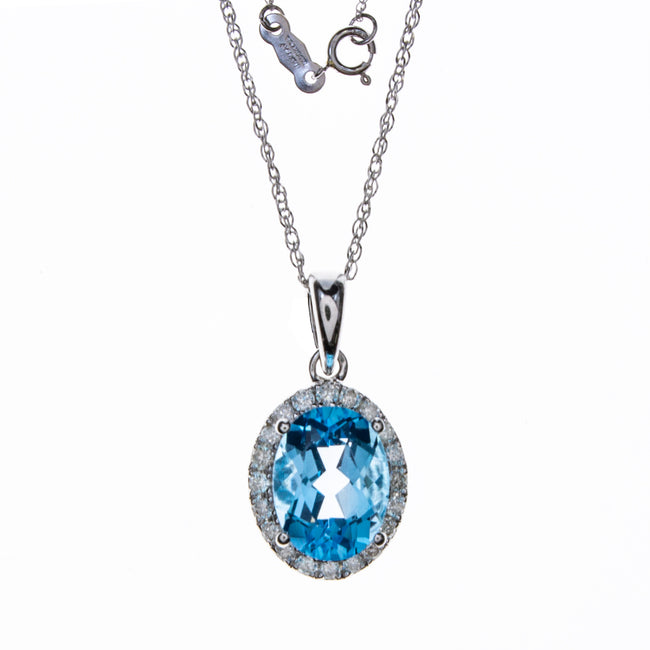 14K White Gold Blue Topaz Oval Necklace
