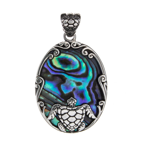 Sterling Silver Abalone Shell Turtle Pendant
