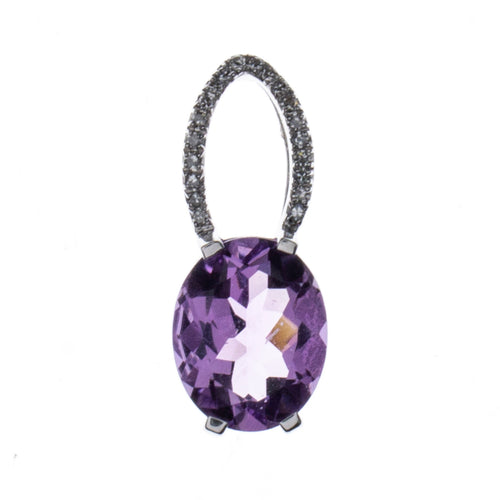 14K White Gold Amethyst Diamond Pendant