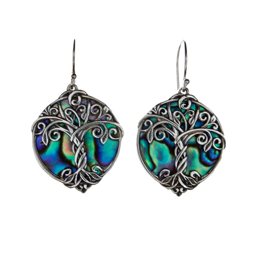 Sterling Silver Abalone Shell Tree of Life Earrings