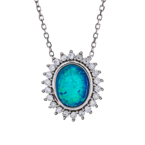 Sterling Silver Created Blue Opal & CZ Necklace
