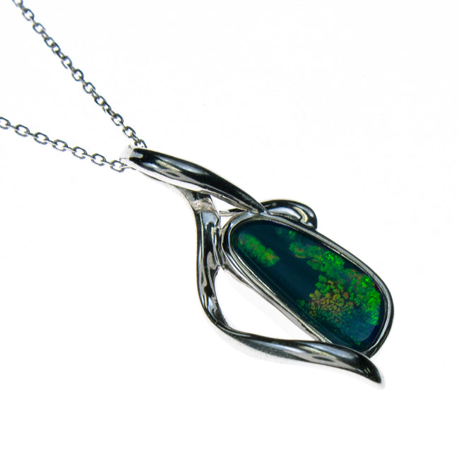 Sterling Silver Boulder Opal Necklace