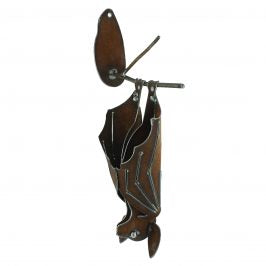 Wall Metal Bat Hanging  with Closed Wings Sculpture