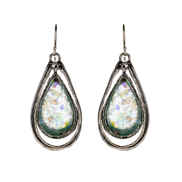 Sterling Silver Roman Glass Earrings