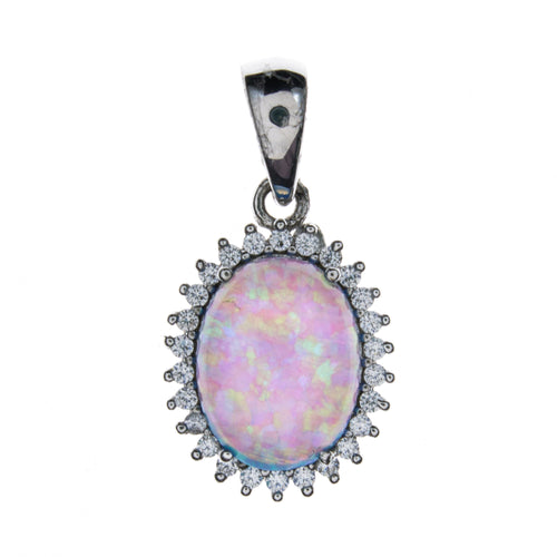 Sterling Silver Created Opal and CZ Pendant