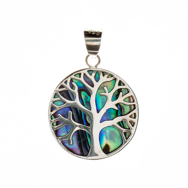 Sterling Silver Abalone Shell Tree of Life Pendant