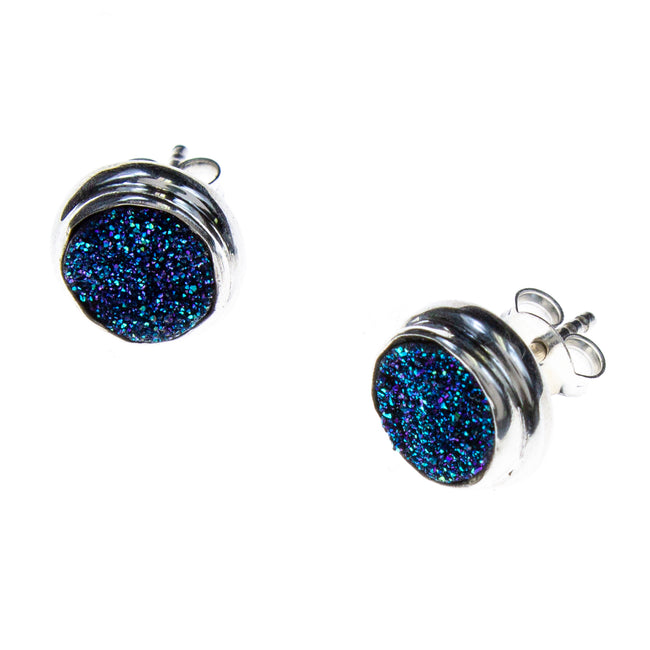 Sterling Silver Titanium Druzy Quartz Stud Earrings