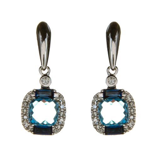 14K White Gold Blue Topaz 2 Tone Earrings