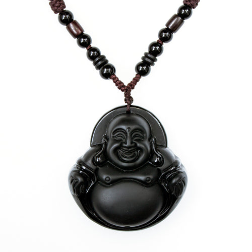 Buddah Carved Onyx Macrame Necklace