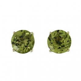 14K Yellow Gold Peridot Round 6mm Stud Earrings